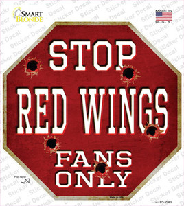 Red Wings Fans Only Wholesale Novelty Octagon Sticker Decal
