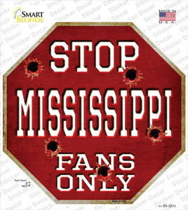 Mississippi State Fans Only Wholesale Novelty Octagon Sticker Decal