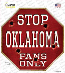Oklahoma Fans Only Wholesale Novelty Octagon Sticker Decal