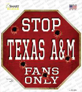 Texas A&M Fans Only Wholesale Novelty Octagon Sticker Decal