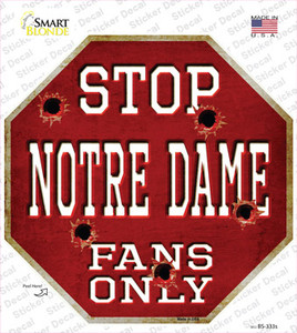 Notre Dame Fans Only Wholesale Novelty Octagon Sticker Decal