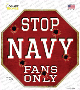 Navy Fans Only Wholesale Novelty Octagon Sticker Decal