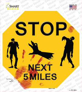 Zombies Next 5 Miles Yellow Wholesale Novelty Octagon Sticker Decal