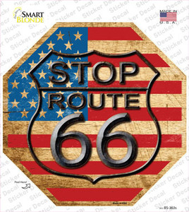 Route 66 American Flag Vintage Wholesale Novelty Octagon Sticker Decal