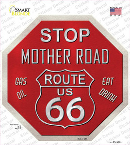 Route 66 Mother Road Wholesale Novelty Octagon Sticker Decal