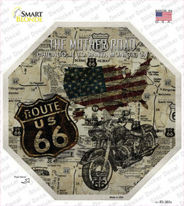 Route 66 Mother Road Vintage Wholesale Novelty Octagon Sticker Decal
