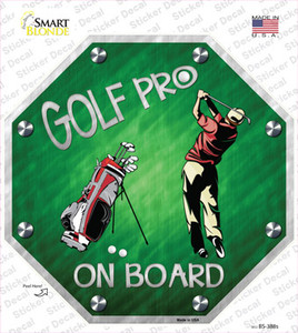 Golf Pro On Board Wholesale Novelty Octagon Sticker Decal