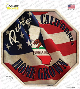 California Home Grown Wholesale Novelty Octagon Sticker Decal