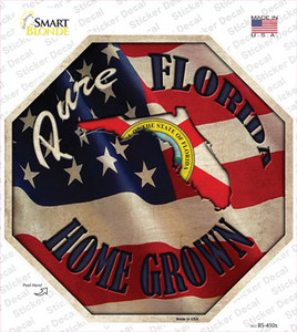 Florida Home Grown Wholesale Novelty Octagon Sticker Decal