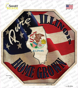 Illinois Home Grown Wholesale Novelty Octagon Sticker Decal