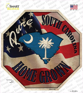 South Carolina Home Grown Wholesale Novelty Octagon Sticker Decal
