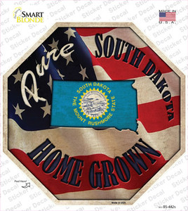 South Dakota Home Grown Wholesale Novelty Octagon Sticker Decal