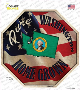 Washington Home Grown Wholesale Novelty Octagon Sticker Decal