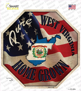 West Virginia Home Grown Wholesale Novelty Octagon Sticker Decal