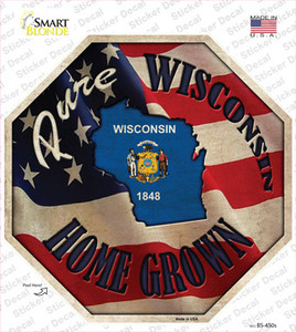 Wisconsin Home Grown Wholesale Novelty Octagon Sticker Decal
