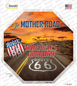 Route 66 With Sunset Wholesale Novelty Octagon Sticker Decal