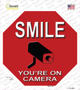 Smile Youre On Camera Wholesale Novelty Octagon Sticker Decal