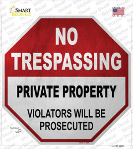 No Trespassing Private Property Wholesale Novelty Octagon Sticker Decal