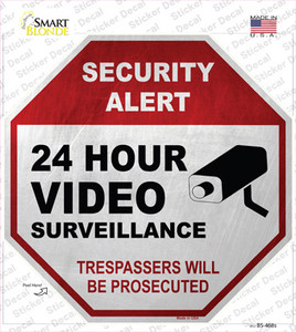 Security Alert 24 Hour Video Wholesale Novelty Octagon Sticker Decal