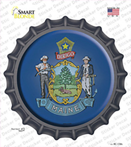 Maine State Flag Wholesale Novelty Bottle Cap Sticker Decal