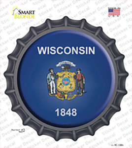 Wisconsin State Flag Wholesale Novelty Bottle Cap Sticker Decal
