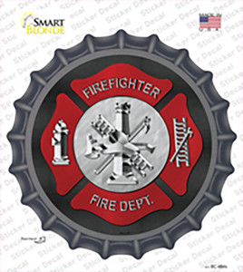 Firefighter Wholesale Novelty Bottle Cap Sticker Decal