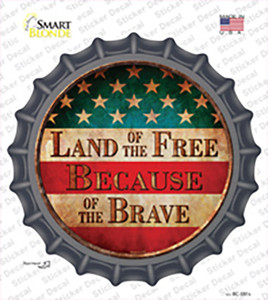 Land of The Free Wholesale Novelty Bottle Cap Sticker Decal
