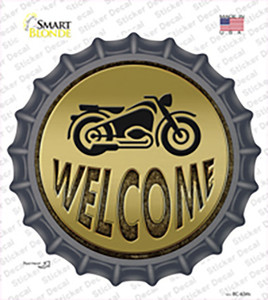 Welcome With Motorcycle Wholesale Novelty Bottle Cap Sticker Decal