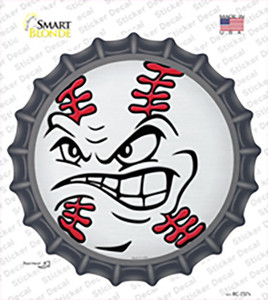 Angry Baseball Wholesale Novelty Bottle Cap Sticker Decal
