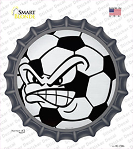 Angry Soccer Ball Wholesale Novelty Bottle Cap Sticker Decal