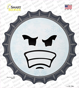 Angry Face Snowflake Wholesale Novelty Bottle Cap Sticker Decal