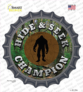 Hide and Seek Champion Bigfoot Wholesale Novelty Bottle Cap Sticker Decal
