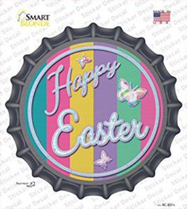 Happy Easter with Butterflies Wholesale Novelty Bottle Cap Sticker Decal