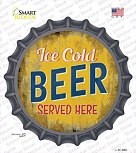 Ice Cold Beer Served Here Wholesale Novelty Bottle Cap Sticker Decal
