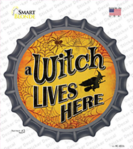 A Witch Lives Here Wholesale Novelty Bottle Cap Sticker Decal