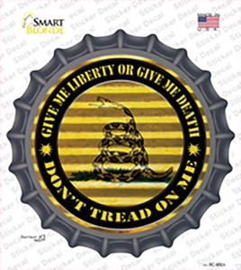 Dont Tread On Me Yellow Wholesale Novelty Bottle Cap Sticker Decal