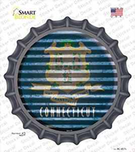 Connecticut Flag Corrugated Wholesale Novelty Bottle Cap Sticker Decal