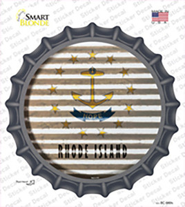 Rhode Island Flag Corrugated Wholesale Novelty Bottle Cap Sticker Decal