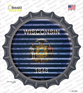 Wisconsin Flag Corrugated Wholesale Novelty Bottle Cap Sticker Decal