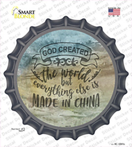 God Created the World Wholesale Novelty Bottle Cap Sticker Decal