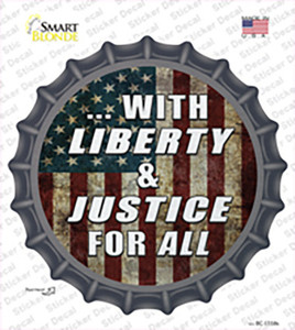 With Liberty and Justice Wholesale Novelty Bottle Cap Sticker Decal