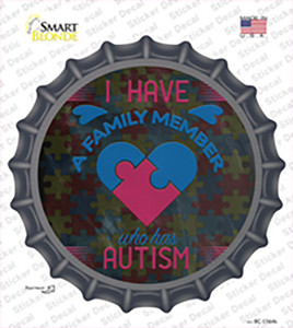 Family Member With Autism Wholesale Novelty Bottle Cap Sticker Decal
