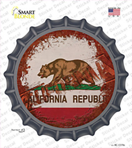 California Rusty Stamped Wholesale Novelty Bottle Cap Sticker Decal