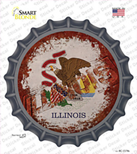 Illinois Rusty Stamped Wholesale Novelty Bottle Cap Sticker Decal