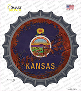 Kansas Rusty Stamped Wholesale Novelty Bottle Cap Sticker Decal