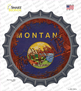 Montana Rusty Stamped Wholesale Novelty Bottle Cap Sticker Decal
