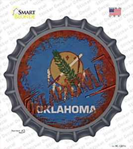 Oklahoma Rusty Stamped Wholesale Novelty Bottle Cap Sticker Decal