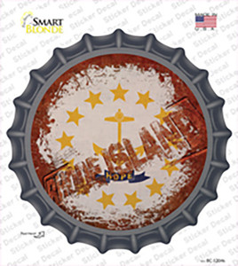 Rhode Island Rusty Stamped Wholesale Novelty Bottle Cap Sticker Decal