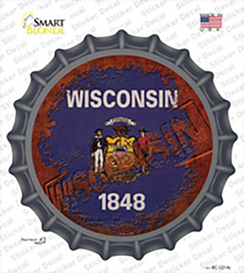 Wisconsin Rusty Stamped Wholesale Novelty Bottle Cap Sticker Decal