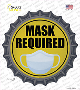 Mask Required Wholesale Novelty Bottle Cap Sticker Decal